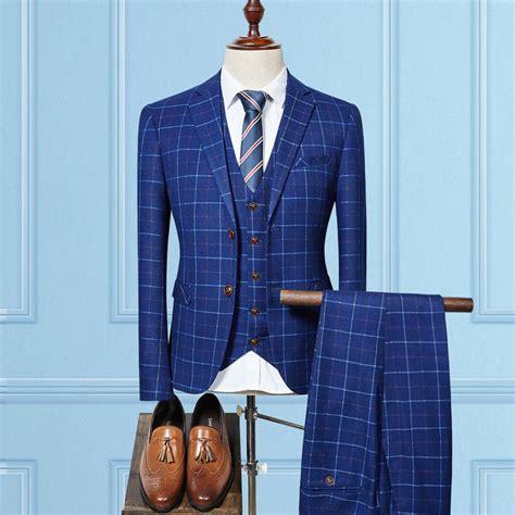 markyi  fashion plaid wedding suits  men good