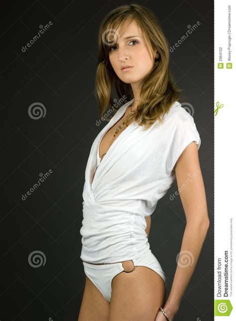 fashion model in white clothes stock photography image