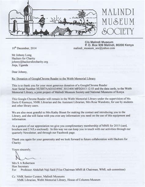 Thank You Letter For Museum Donation Malindi Museum Society Donation Hackers For Charity