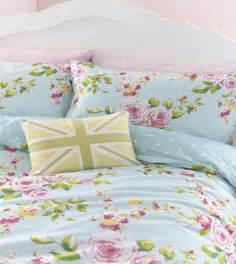 floral bedding duck egg pink blue floral or spots reversible