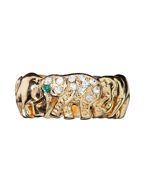 sequin elephant ring in gold gold clear lyst