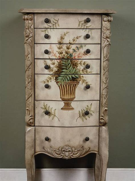 jewelry armoire hand painted powell masterpiece aged white hand painted jewelry armoire