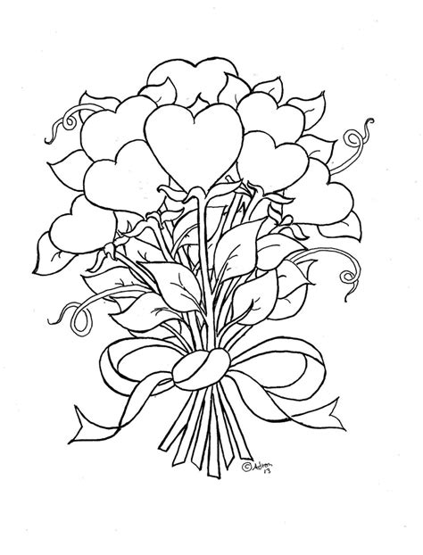 hearts with wings and roses coloring pages hd cool 7 hd