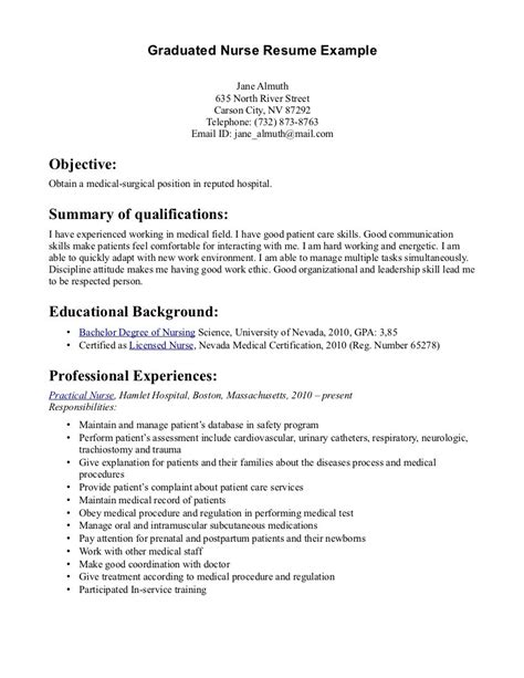 A Resume Sle For Fresh Graduate Student Nursing Resume Sales Nursing Lewesmr