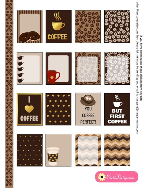 coffee planner stickers printable free printable coffee themed planner stickers for erin