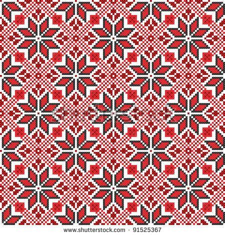 ukraine pattern vector seamless embroidered good like handmade cross stitch