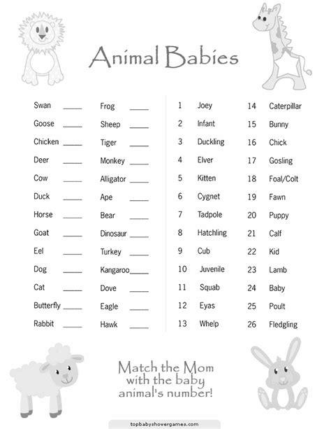 printable animal babies match game printable baby shower games