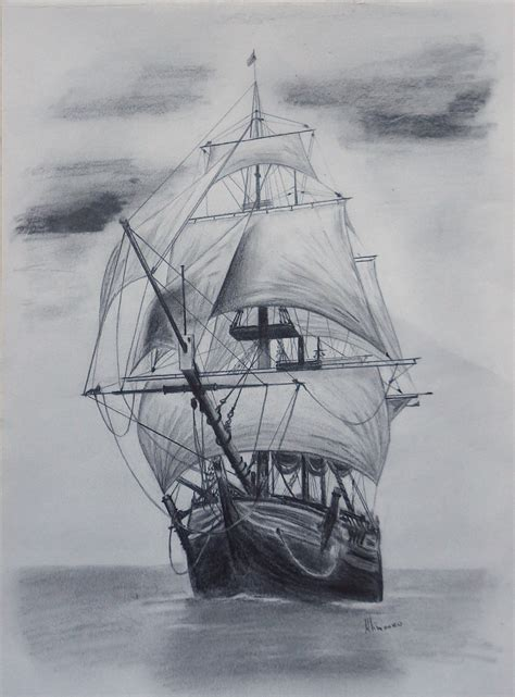 boat art drawing drawn ship artwork pencil and in color drawn ship artwork