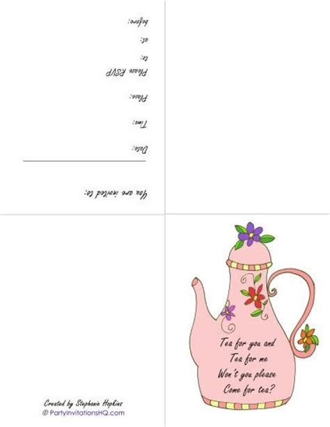 printable tea invitations template 17 best images about tea paper crafts printables on