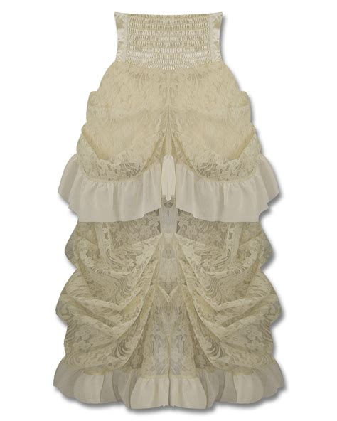 lace ivory victorian bustle skirt banned long gothic steunk skirt ivory vtg victorian