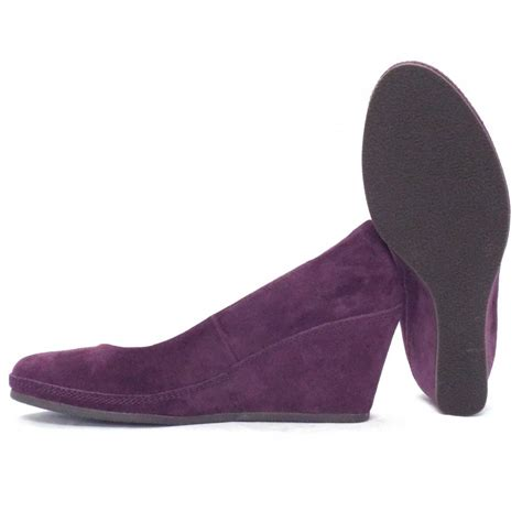 gabor shoes teller womens wedge shoe in purple suede