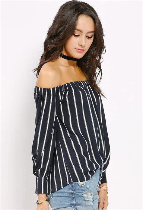 Striped Shoulder striped the shoulder top shop tops at papaya