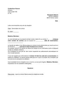 lettre de d 233 nonciation du contrat d abonnement