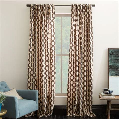 Brown And Ivory Curtains Rhombi Flocked Brown And Ivory Curtain