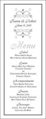 wedding menu sles templates free printable wedding menus wedding menu template