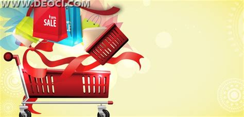 Vector ribbons shopping cart bags mall advertising poster