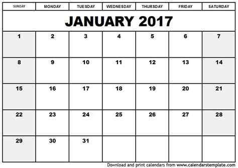 Free Calendar Template 2017 Cyberuse Free Photo Calendar Template 2017