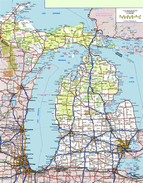 usa map michigan state michigan road map