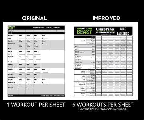 beast workout sheet beast workout sheets post comparison orginal 2016