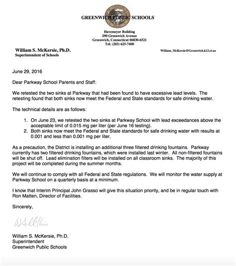 Parent Update Letter Update Greenwich Schools Superintendent Sends Another Letter To Parkway School Families On
