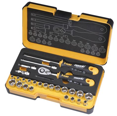 Socket Wrench Set 27 Pcs felo r go 1 4 in ergonic ratchet stubby multi tools set 27 pcs mm inch the home depot canada