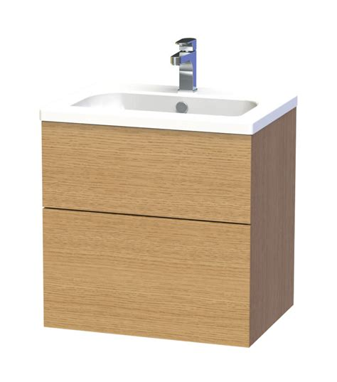 Miller Bathroom Furniture Miller New York 60 Oak Two Drawer Wall Hung Vanity Unit 288 5