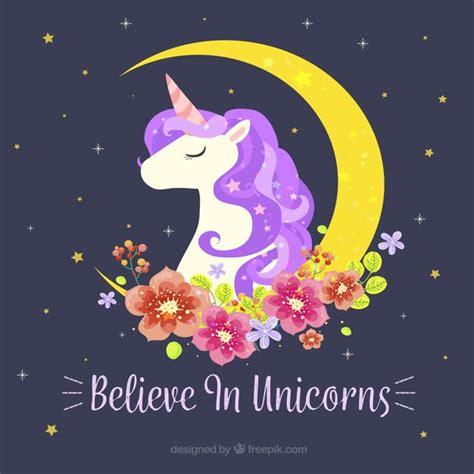 imagenes de unicornios gratis fondo de unicornio con luna y decoraci 243 n floral vector