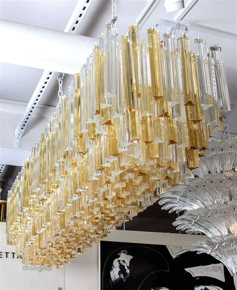 Large Rectangular Chandelier Large Rectangular Italian Murano Gold And Clear Prism Chandelier At 1stdibs