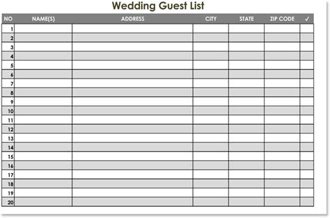 Wedding To Do List Spreadsheet by Free Wedding Guest List Templates For Word And Excel
