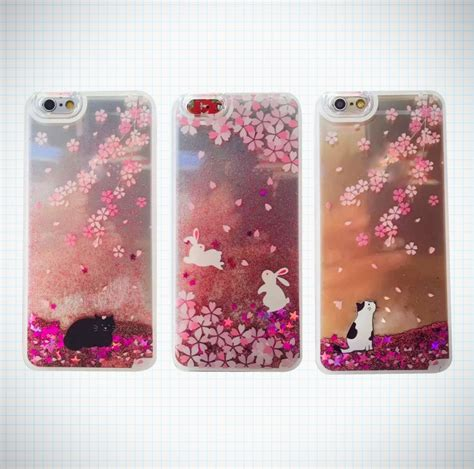 Casing Iphone 5 Bunny pink cherry blossom glitter waterfall cats bunnies phone
