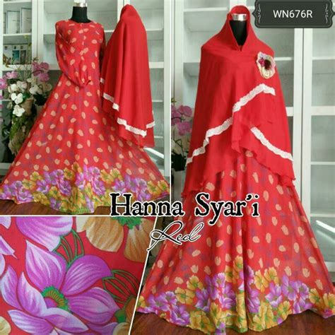 Gamis Nafah4 Merah Syar I baju gamis sifon syar i motif bunga cantik murah