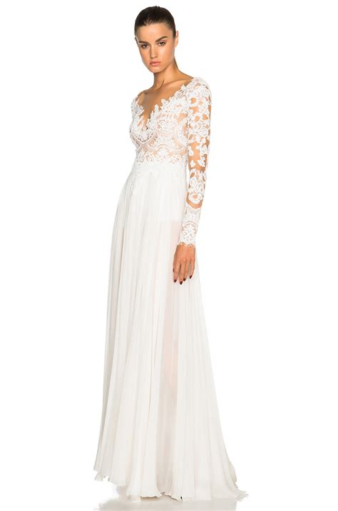 Longsleeve White Brush lyst zuhair murad embroidered sleeve gown in white