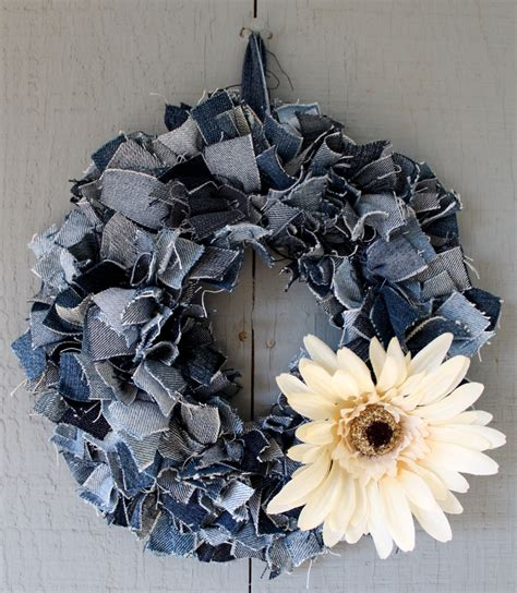 wreath centerpiece denim wreath candle ring centerpiece accented with fall