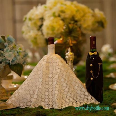 wine bottle covers   handmade wine bottle covers   Bride