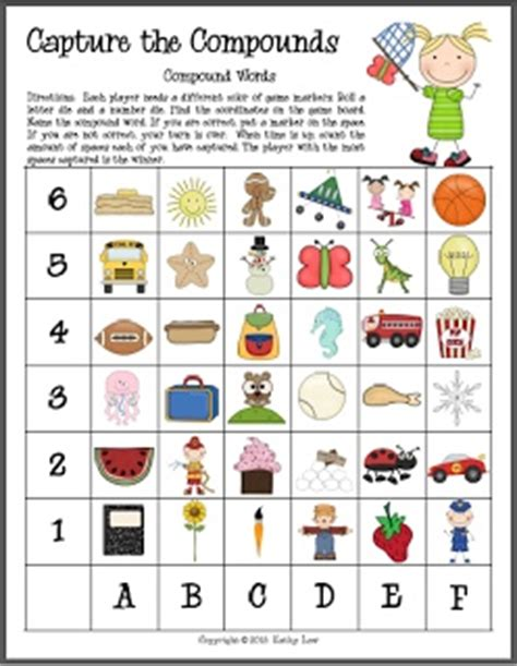 printable compound word matching games la compound words capture the compounds game first