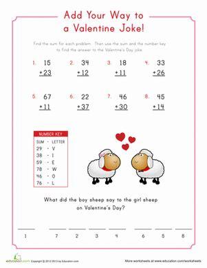 Grade addition subtraction worksheets valentine math cryptogram