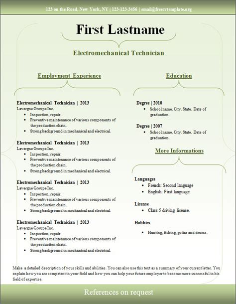 cv template free downloads