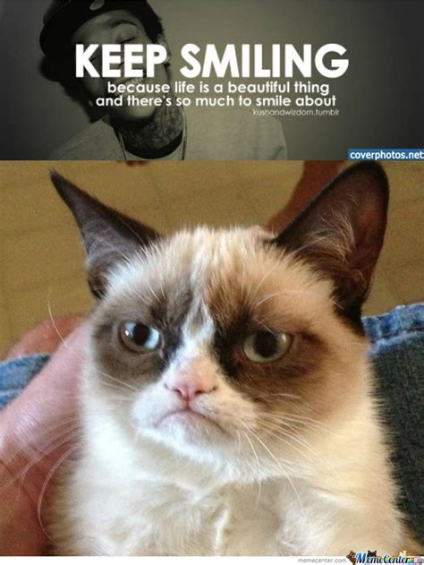 Smiling Cat Meme - grumpy cat disagrees smiling is for weak by williams