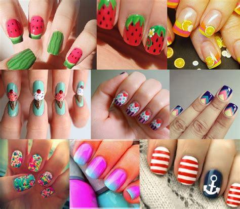 Fingern Gel Design Vorlagen Einfach summer nail designs