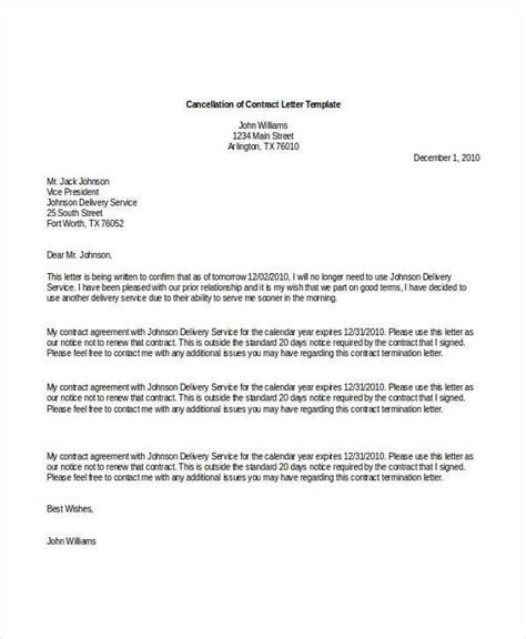 contract letter template sample format