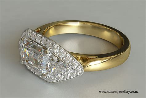 yellow gold emerald cut engagement ring trillion