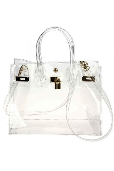 see through chain accented satchel bag agp handbags apparel