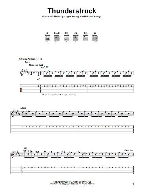 Thunderstruck by AC/DC - Easy Guitar Tab - Guitar Instructor Ac Dc Thunderstruck Guitar Tabs