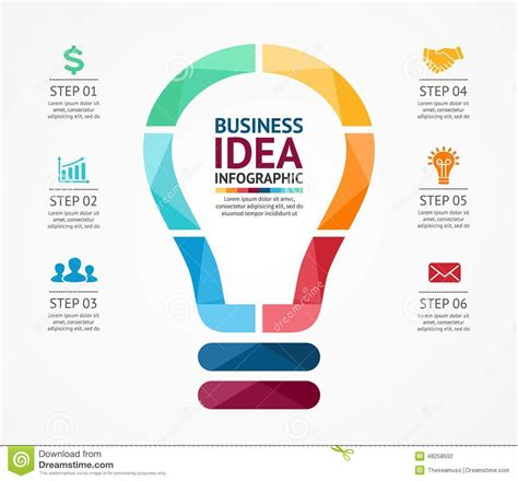 business idea template for business idea infographic light buble diagram stock