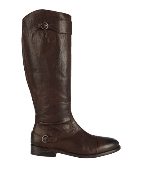 allsaints hussar knee boot in brown bitter lyst