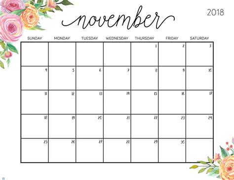printable calendar november 2018 free printable 2018 calendar with weekly planner