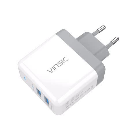vinsic usb travel charger 2 port 5v 4 8a eu white