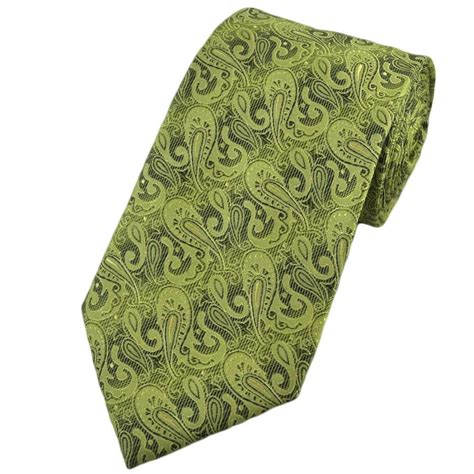 avocado green mid green paisley silk tie from ties planet uk