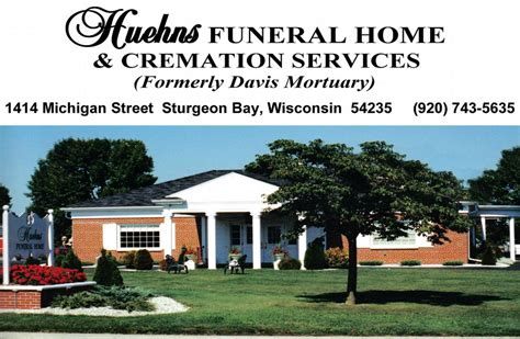 huehns funeral home cremation services sturgeon bay wi