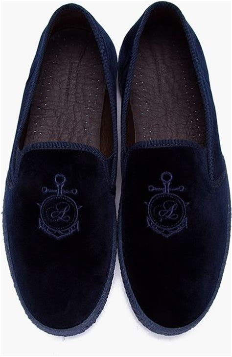 apc loafers a p c navy velvet anchor loafers in blue for navy